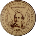 Political:Pinback Buttons (1896-present), William Jennings Bryan: A Rare and Symbolic 1 ¾-inch Button Showinghis Photo Superimposed over a Silver Dollar....