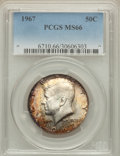 Kennedy Half Dollars: , 1967 50C MS66 PCGS. PCGS Population (109/10). NGC Census: (112/6).Mintage: 295,046,976. Numismedia Wsl. Price for problem ...