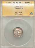 Seated Dimes: , 1845 10C -- Cleaned -- ANACS. AU55 Details. NGC Census: (8/129). PCGS Population (10/87). Mintage: 1,755,000. Numismedia Ws...