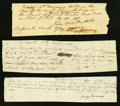Colonial Notes:Massachusetts, Massachusetts, Dartmouth Receipts £2.6s; £7.17s.10 1/4d; £10.11s1777; 1779; 17?? About New.. ... (Total: 3 items)