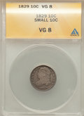 Bust Dimes: , 1829 10C Small 10C VG8 ANACS. NGC Census: (10/311). PCGS Population (6/286). Mintage: 770,000. Numismedia Wsl. Price for pr...
