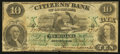 Obsoletes By State:Louisiana, New Orleans, LA- The Citizens' Bank of Louisiana Counterfeit $10 Dec. 1, 1857 C22a. ...