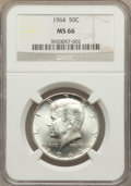 Kennedy Half Dollars: , 1964 50C MS66 NGC. NGC Census: (668/43). PCGS Population (1042/34).Mintage: 273,300,000. Numismedia Wsl. Price for problem...