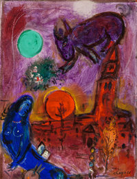 MARC CHAGALL (French/Russian, 1887-1985) Saint-Germain-des-Prés, 1953 Oil on canvas 13-3/4 x 10-5