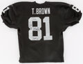 Football Collectibles:Uniforms, Tim Brown Signed Los Angeles Raiders Jersey....