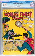 Golden Age (1938-1955):Superhero, World's Finest Comics #25 (DC, 1946) CGC VF/NM 9.0 Off-white to white pages....