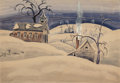 Fine Art - Painting, American:Modern  (1900 1949)  , CHARLES EPHRAIM BURCHFIELD (American, 1893-1967). Country SchoolHouse in Winter, 1918. Watercolor on paper laid on boar...(Total: 3 Items)