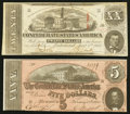 Confederate Notes:Group Lots, T58 $20 1863 PF-4 Cr. 418.. T69 $5 1864 PF-9 Cr. 563.. ... (Total:2 notes)