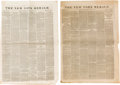 Miscellaneous:Newspaper, [Sam Houston]. Two Newspapers.... (Total: 2 )