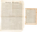 Miscellaneous:Newspaper, [Santa Fe Expedition]. Two Newspapers:... (Total: 2 Items)