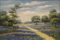 Texas:Early Texas Art - Impressionists, BELLE AUSTIN (1880-1980). Untitled Bluebonnets, Paintbrushes, andPrickly Pear. Oil on canvasboard. 11 x 16-1/2 inches (27.9...