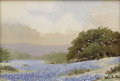 Texas:Early Texas Art - Impressionists, WILLIAM SLAUGHTER (1923-2003). Untitled Bluebonnet Landscape. Oilon canvasboard. 5 x 7 inches (12.7 x 17.8 cm). Signed lowe...