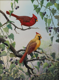 J. W. THRASHER (b. 1940) Cardinals and Wild Grape, 1996 Oil on canvas 16 x 12 inches (40.6 x 30.5