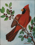 Texas:Early Texas Art - Impressionists, W. R. THRASHER (1908-1997). Cardinal. Oil on canvasboard. 10x 8 inches (25.4 x 20.3 cm). Signed lower right. ...