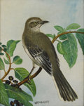 Texas:Early Texas Art - Impressionists, W. R. THRASHER (1908-1997). Mockingbird. Oil on canvasboard.10 x 8 inches (25.4 x 20.3 cm). Signed lower center. ...