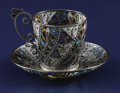 Silver Holloware, Continental:Holloware, A Norwegian Plique-a-Jour Cup and Saucer. Marius Hammer,Oslo, Norway. Circa 1900. Silver gilt and enamel. Mar...