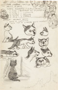 "Original Comic Art:Sketches, Robert Crumb ""Pappy Cat/School Notes"" Sketchbook Page Original Art (1961)...."