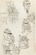 "Original Comic Art:Sketches, Robert Crumb ""Frog People"" Sketchbook Page Original Art (c. early 1960s)...."
