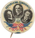 """Political:Pinback Buttons (1896-present), Harding, Coolidge and Penrose: A Rare 1 ¼-inch Trigate """"Coat-tail""""Design from 1920...."""