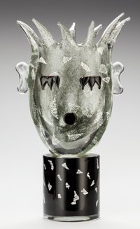 KIKI KOGELNIK (Austrian, 1935-1997) Night Head, circa 1994 Blown and cast glass 19-1/2 inches hig