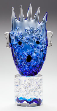 KIKI KOGELNIK (Austrian, 1935-1997) Ocean Head, circa 1995 Cast and blown glass 20-5/8 inches hig