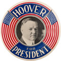 Political:Pinback Buttons (1896-present), Herbert Hoover: Stunning Red, White and Blue Color on this 3 ½-inchRarity by Western Badge and Novelty Company....