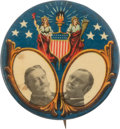 Political:Pinback Buttons (1896-present), Taft & Sherman: One of the Best Colorful 1908 Jugate Designs....