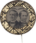Political:Ferrotypes / Photo Badges (pre-1896), Tilden & Hendricks: A Choice 1876 Jugate Ferrotype withSpectacular Gold and Black Border....
