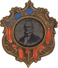 Political:Ferrotypes / Photo Badges (pre-1896), Horace Greeley: Great, Colorful Frame on this Rare 1872Ferrotype....