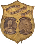 "Political:Ferrotypes / Photo Badges (pre-1896), Hayes & Wheeler: The Best Jugate Pin for these ""CentennialCandidates for 1876.""..."