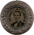 "Political:Ferrotypes / Photo Badges (pre-1896), Abraham Lincoln: A Superb Example of the Best Variety ofLargest-Size 1860 ""Donut"" Ferrotype...."