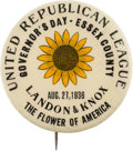"Political:Pinback Buttons (1896-present), Landon & Knox: ""The Flower of America,"" One of the Top LandonSlogan Button Varieties...."