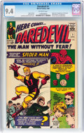 Silver Age (1956-1969):Superhero, Daredevil #1 (Marvel, 1964) CGC NM 9.4 Off-white pages....