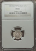 Mexico, Mexico: Republic 1/2 Real 1868 Go-YF MS63 NGC,...