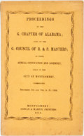 Books:Americana & American History, Alabama: PROCEEDINGS OF THE G. CHAPTER OF ALABAMA; ALSO OF THE G.COUNCIL OF R. & S. MASTERS; AT THEIR ANNUAL CONVOCATION A...