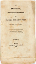 Books:Religion & Theology, Brookes, Rev. Iveson L.: A DISCOURSE, INVESTIGATING THE DOCTRINE OF WASHING THE SAINTS FEET. DELIVERED AT MONTICELLO. Macon:...