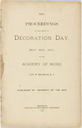 Books:Americana & American History, Brooklyn: THE PROCEEDINGS ON THE EVENING OF DECORATION DAY, MAY30TH, 1877, AT THE ACADEMY OF MUSIC, CITY OF BROOKLYN, N. Y....