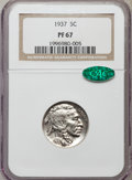 Proof Buffalo Nickels: , 1937 5C PR67 NGC. CAC. NGC Census: (329/45). PCGS Population(448/19). Mintage: 5,769. Numismedia Wsl. Price for problem fr...