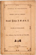 Books:Americana & American History, Good Templars: JOURNAL OF PROCEEDINGS. TENTH ANNUAL SESSION OF THEGRAND LODGE I. O. OF G.T. OF THE STATE OF WISCONSIN, HEL...