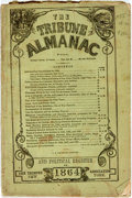 Books:Americana & American History, Greeley, Horace: THE TRIBUNE ALMANAC AND POLITICAL REGISTER FOR1864. New York: [1863]. 12mo, original printed wrappers. 87,...