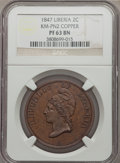 Liberia, Liberia: Republic copper Proof Pattern 2 Cents 1847 PR63 BrownNGC,...