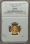 Colombia, Colombia: Republic gold 2 Pesos 1872-M MS63 NGC,...