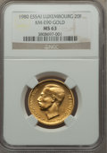 Luxembourg, Luxembourg: Jean gold Essai 20 Francs 1980 MS63 NGC,...