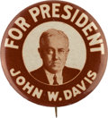 Political:Pinback Buttons (1896-present), John. W. Davis: A Key 1 ¾-inch Variety for the Difficult 1924Democratic Candidate....