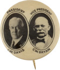 Political:Pinback Buttons (1896-present), Davis & Bryan: An Exceedingly Rare 7/8-inch Jugate Variety forthis Very Tough Ticket....