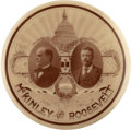 Political:Pinback Buttons (1896-present), McKinley & Roosevelt: A Lovely 1 ½-inch Sepia Jugate Design....