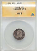 Bust Dimes, 1814 10C Large Date, JR-3, R.2, VG8 ANACS. NGC Census: (0/15). PCGSPopulation (0/4). Mintage: 421,500. ...