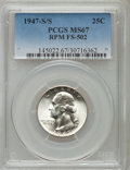 Washington Quarters, 1947-S/S 25C Repunched Mintmark, FS-502 MS67 PCGS. PCGS Population(3/0). Mintage: 5,532,000....