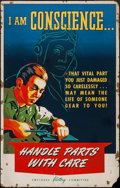 "Movie Posters:War, World War II Propaganda (Lockheed, 1940s). Silk Screen Poster (28""X 44""), ""I Am Conscience..."" War.. ..."