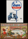 """Movie Posters:Miscellaneous, Vespa Advertising Poster & Other Lot (Piaggio, 1950s). Posters (2) (10.25"""" X 14"""" & 9.75"""" X 16.75""""). Miscellaneous.. ... (Total: 2 Items)"""